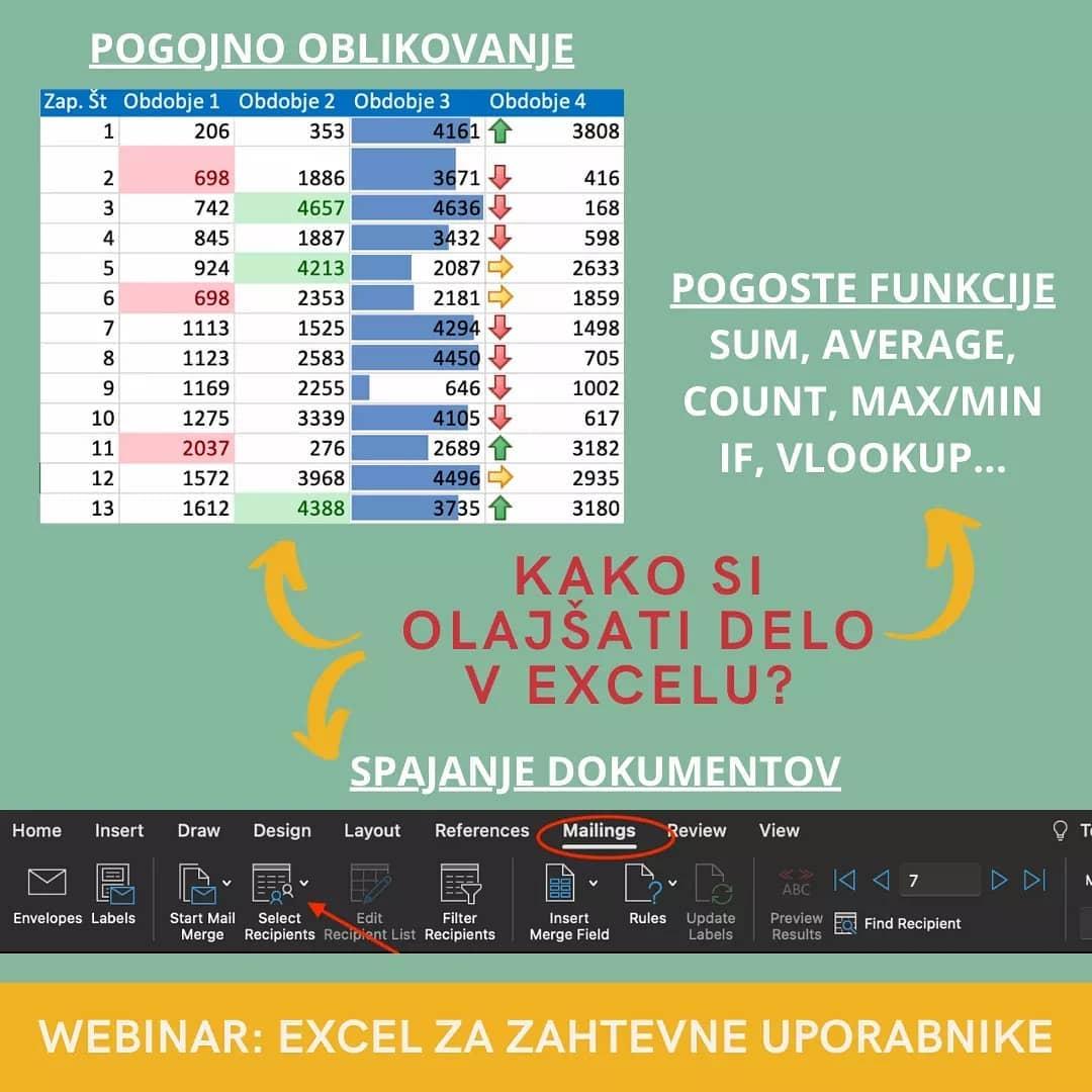 Pogojno oblikovanje, uporaba funkcij, spajanje dokumentov v Excelu