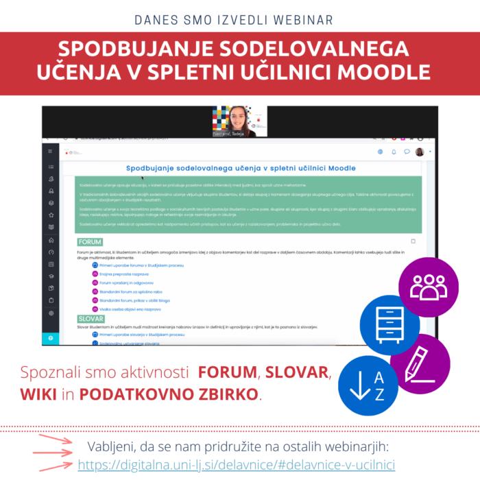 Izvedba webinarja na temo sodelovalnega učenja v spletni učilnici Moodle