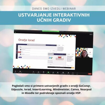 Webinar Ustvarjanje interaktivnih učnih gradiv