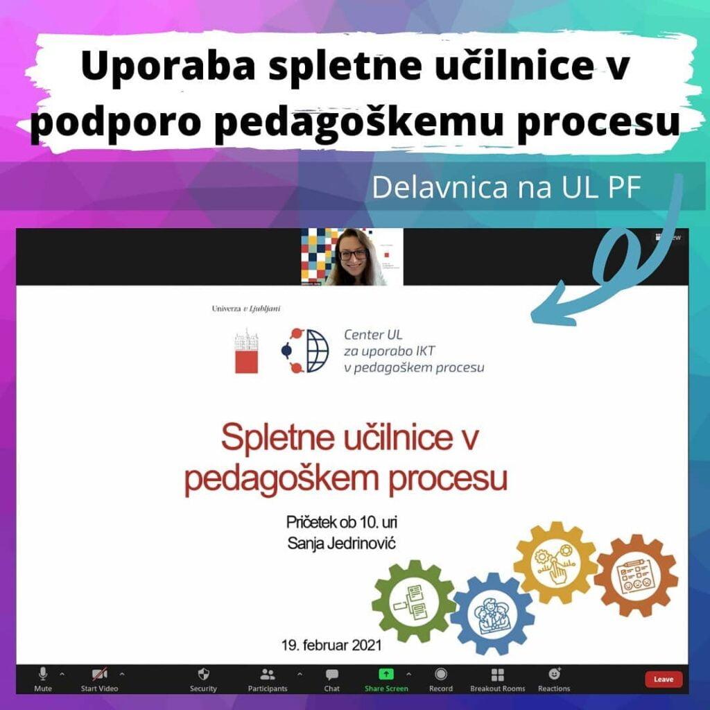 Delavnica Uporaba spletne učilnice v podporo pedagoškemu procesu