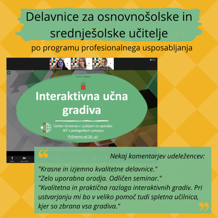 Delavnice po programu profesionalnega usposabljanja: Interaktivna učna gradiva
