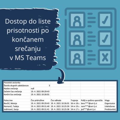 Lista prisotnosti po končanem srečanju v MS Teams