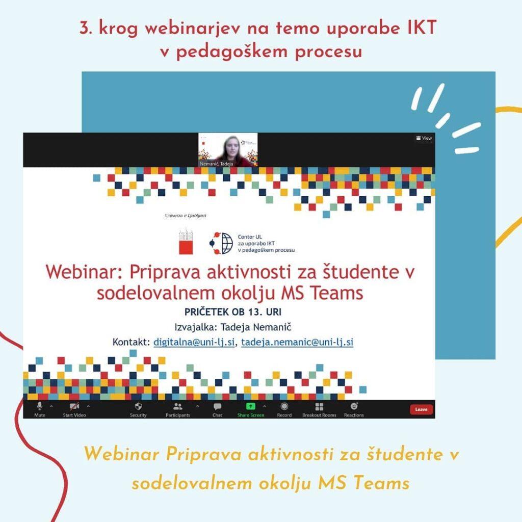 Webinar Priprava aktivnosti za študente v sodelovalnem okolju MS Teams
