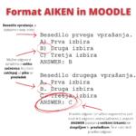 AIKEN format za uvoz vprašanj v spletno učilnico Moodle