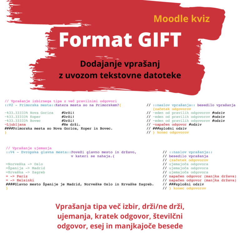 GIFT format za uvoz vprašanj v spletno učilnico Moodle