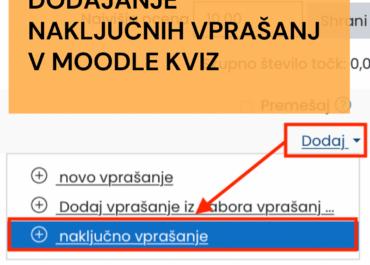 Naključno dodajanje vprašanj v spletno učilnico Moodle